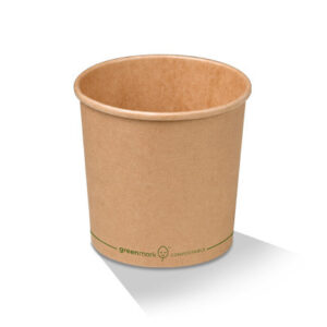 Paper, PLA, Disposable Coated Brown Bowl 26oz