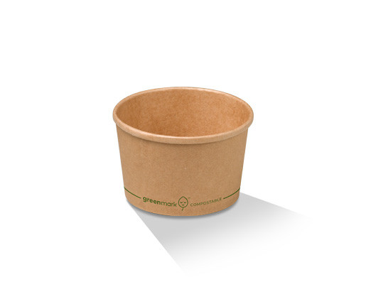 Paper, PLA, Disposable Coated Brown Bowl 8oz