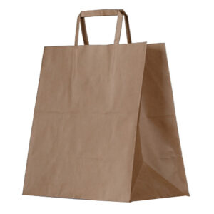 Kraft Paper, Disposable Brown Bag With Flat Paper Handle Large