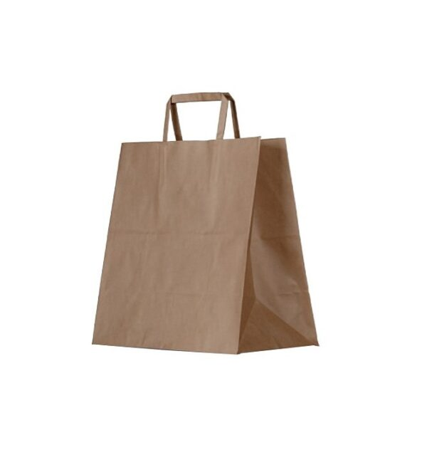 Kraft Paper, Disposable Brown Bag With Flat Paper Handle Small