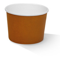 Paper, PLA, Disposable Coated Paper Bowl Brown 12oz.