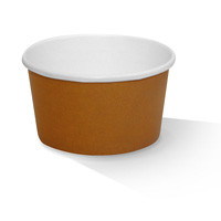 Paper, PLA, Disposable Coated Paper Bowl Brown 8oz.