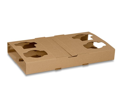 Corrugated Cardboard, Disposable Cup Holder 4 Cell