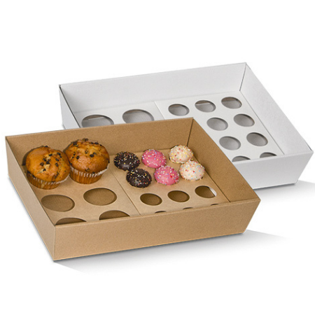 Corrugated Cardboard, Disposable Cupcake Tray Large 12 Holes