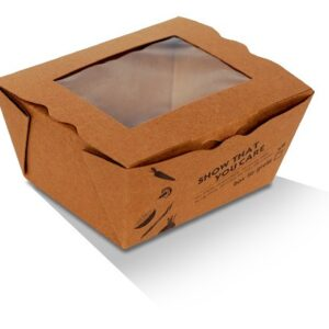 Kraft Paper, PLA, Disposable Lunch Box With PLA Window - Small