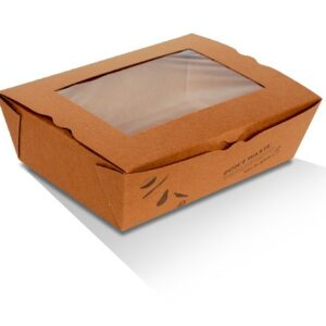 Kraft Paper, PLA, Disposable Lunch Box With PLA Window - Large