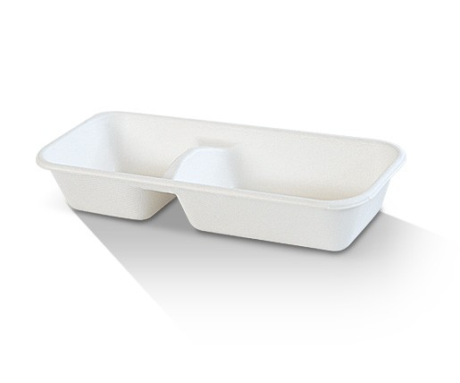 Sugarcane, Disposable Tray 2 Compartment