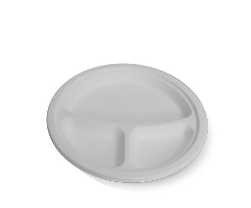 Sugarcane, Disposable Round Plate 9'' 3 Compartment