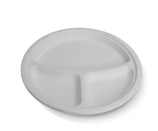 Sugarcane, Disposable Round Plate 10'' 3 Compartment