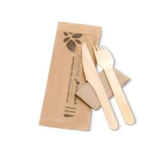 Wood, Disposable Fork, Knife and Napkin